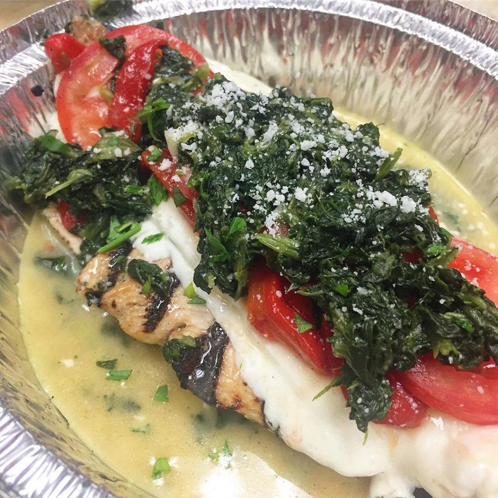 Grilled Chicken Meci yummm! Spinach sliced tomato fresh mozzarella roastedhellip